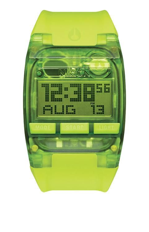 "Nixon Comp All Neon Green ""Transparent"" Digital Surf Watch A408204400"