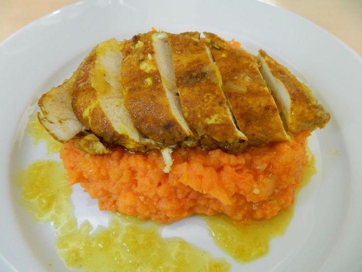 poulet à la marocaine et purée de patate douce