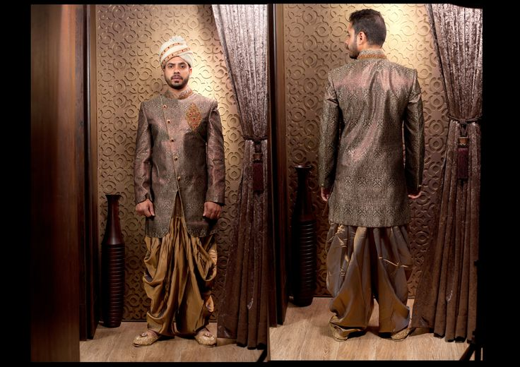 For the Glam groom, who isn't afraid of the spotlight: draw all eyes on you with this Brown Brocade sherwani. Try it ♡ Book it ♡ Flaunt it