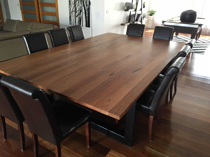 Recycled Messmate Timber Dining Table With Black Metal Legs