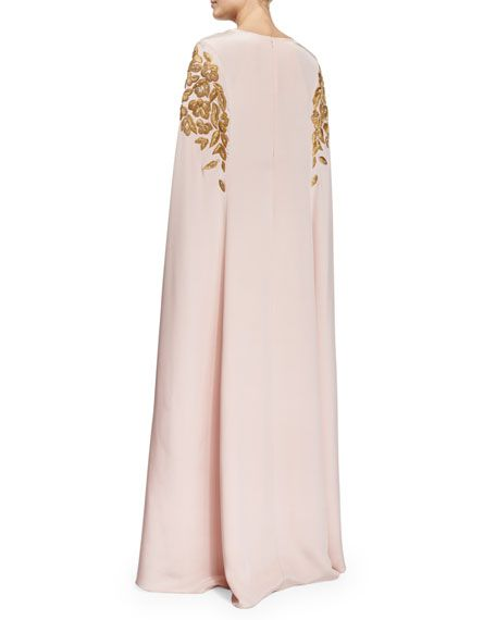 GABRIELLE'S AMAZING FANTASY CLOSET | Oscar de la Renta Soft Pink Silk Cape Gown with Gold Embellishment (Back View) You can see the Front View and the Rest of the Outfit and my Remarks on this board. - Gabrielle