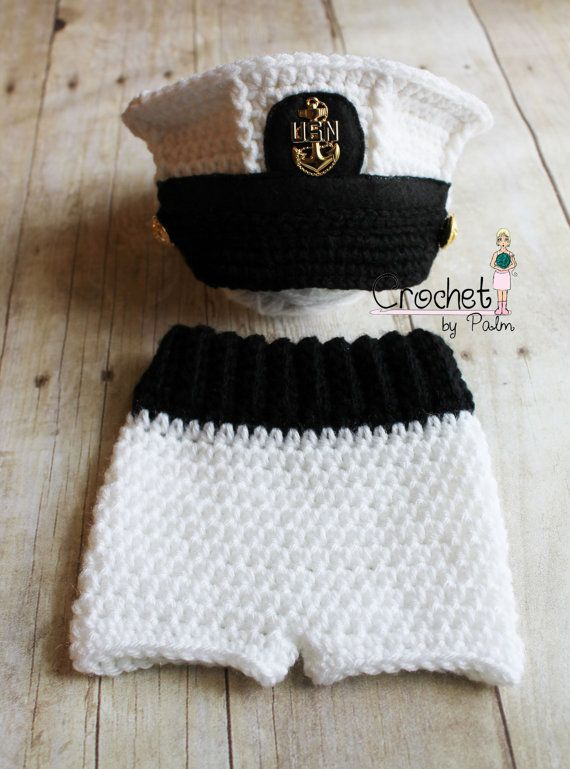 Crochet US Navy Baby Hat, USN Newborn Hat, USN White Summer Dress, Baby Pants, Newborn Photography prop on Etsy, $50.00