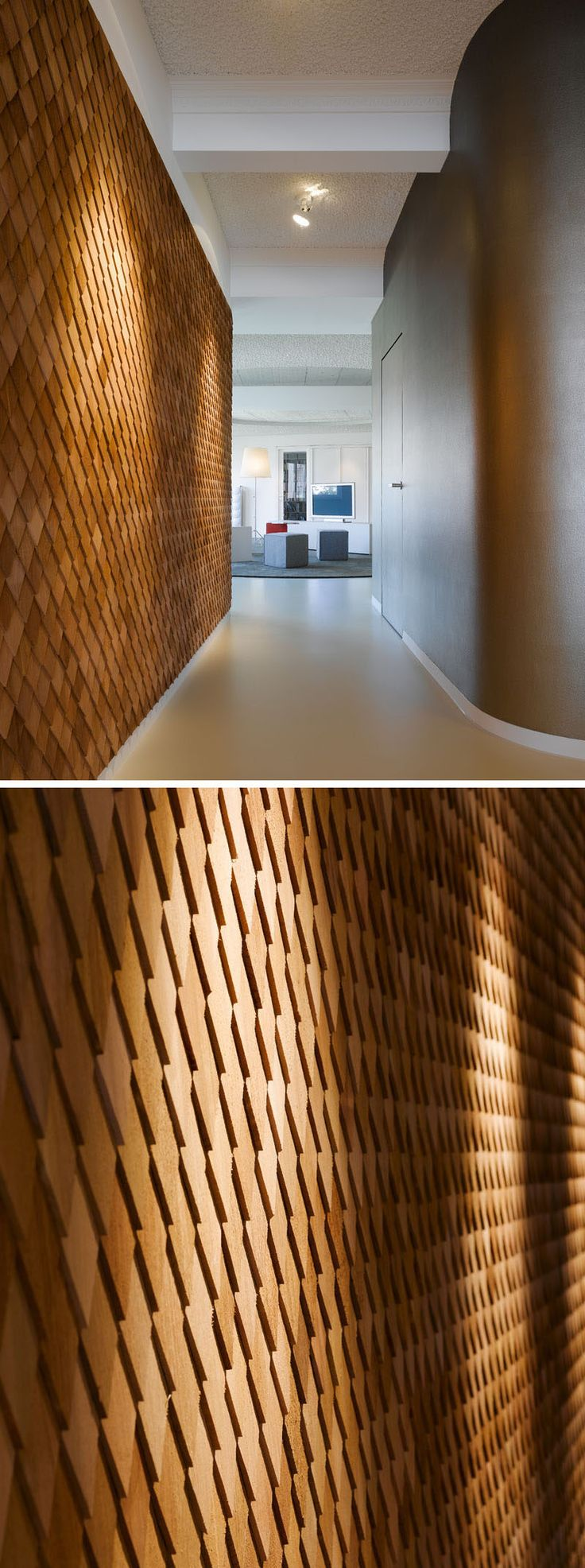 Best Using Wood Shingles To Create An Accent Wall Adds Warmth 640 x 480
