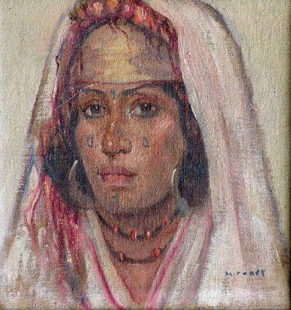 Marcel CANET Femme berbère aux bijoux. Huile sur toile marouflée sur carton,
