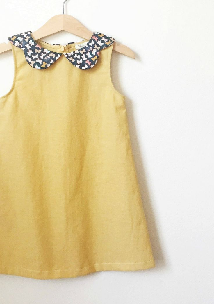 Little Girls Handmade Dress With Peter Pan Collar | HelloTalaria on Etsy