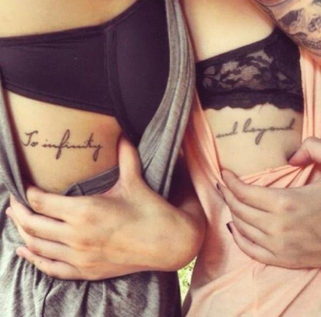 Under bra matching tattoos