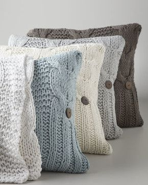 "Amity Home Cable-Knit Pillow, 20""Sq. - traditional - bed pillows and pillowcases - Horchow"