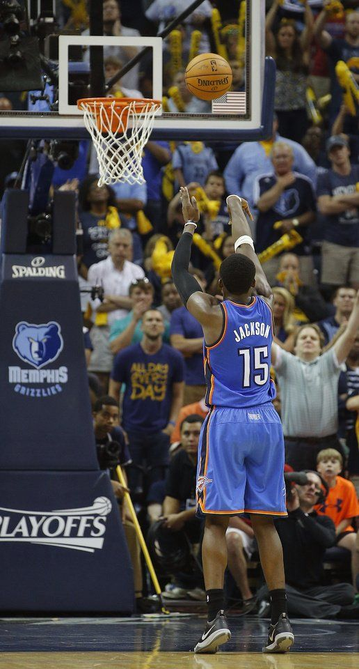 Oklahoma City's Reggie Jackson (15) makes a free throw with three seconds left in overtime during Game 4 in the first round of the NBA playoffs between the Oklahoma City Thunder and the Memphis Grizzlies at FedExForum in Memphis, Tenn., Saturday, April 26, 2014. Photo by Bryan Terry, The Oklahoman