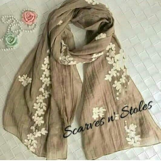 9106feabf1a00 BEAUTIFUL FLORAL EMBROIDERY STOLE/HIJAB/SCARF Viscose Cotton material  180100 cm #Embroidery Hijab