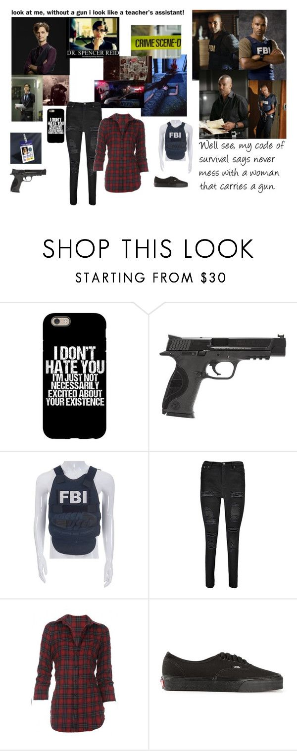 """""""On the field with Agent Morgan and Dr. Reid ~ Criminal Minds"""" by lost-girl-reily ❤ liked on Polyvore featuring Morgan, Garcia, Smith & Wesson, Boohoo, Elizabeth and James and Vans"""
