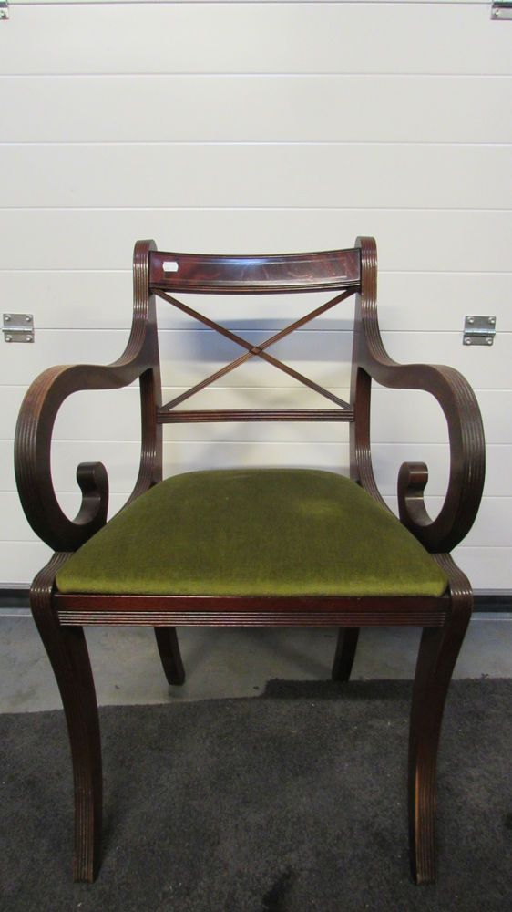Birds Eye Maple Style Wood Frame Dining Carver Chair with Olive Green Seat Pad
