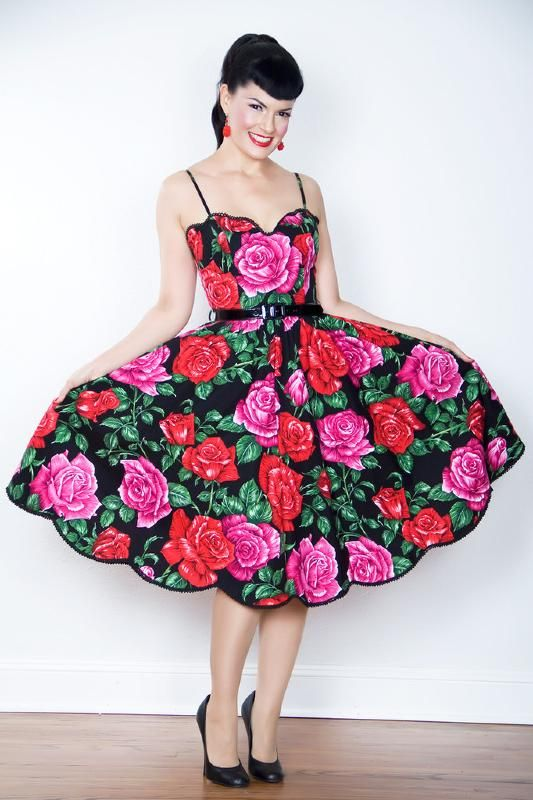 1950s Scallop Pin up dress by Bernie Dexter in Luscious Rose