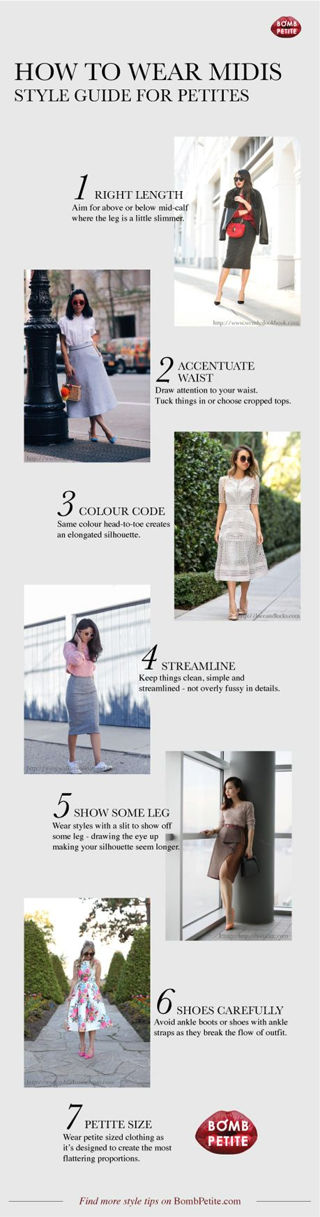 How to wear midi skirts and dresses :: A guide for petite women | Petite dresses, style tips, trends, designers, celebrities and beautiful clothing for petite women.The ultimate petite fashion resource. — BombPetite.com