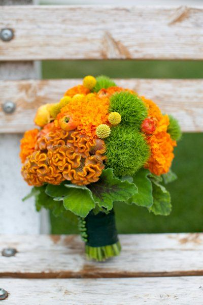 Green Orange wedding flower bouquet, bridal bouquet, wedding flowers, add pic source on comment and we will update it. www.myfloweraffair.com can create this beautiful wedding flower look.