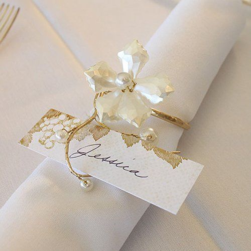 Pearl and Vintage Gold Wire Napkin Ring by Beau-coup