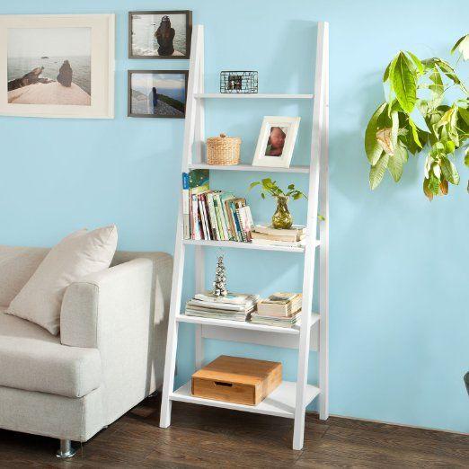 SoBuy Ladder Style Shelving Storage Display Units & Desk, Wall Shelf Bookcase (FRG61-W, 5 Tiers Bookcase)