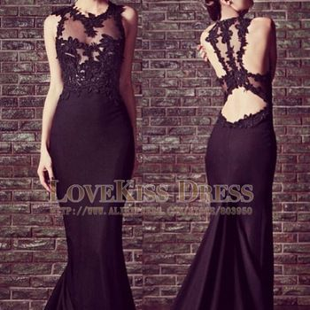 Sexy Vestidos De Fiesta Scoop Neck Sleeveless Black Mermaid Long Prom Evening Dress DYQ507