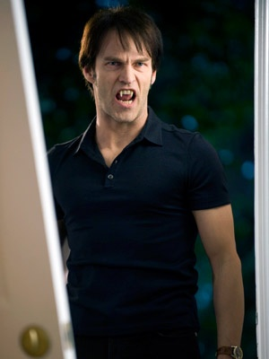 "Bill Compton from ""True Blood"" played by Stephen Moyer  I realized the other night that as much as I love his character, his character is weak.  He is easily influenced (Take the whole season 5 as an example).  This is from season 2 when Jessica goes to her parents house.  This was also the episode where Sookie and him fight and she gets attacked after storming off."
