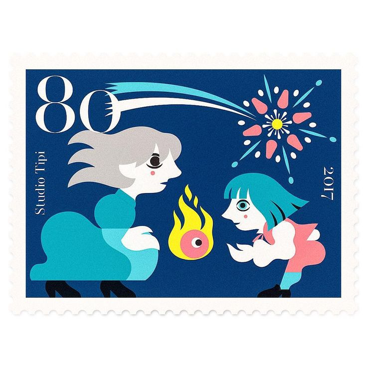 "Our imaginary #illustrated #postal #stamp collection - Miyazaki Tales Series 1 - #howlsmovingcastle - stamp 6: ""The Boy Who Swallowed the Star"". - #tribute to one of the greatest #storyteller of our time, master #hayaomiyazaki #宮崎駿 - #japanpost #日本郵便 #切手 #studioghibli #sophiehatter  #howl #calcifer #witchofthewaste #heen #ハウルの動く城 #ソフィー・ハッター #ハウル #illustration #stampdesign"