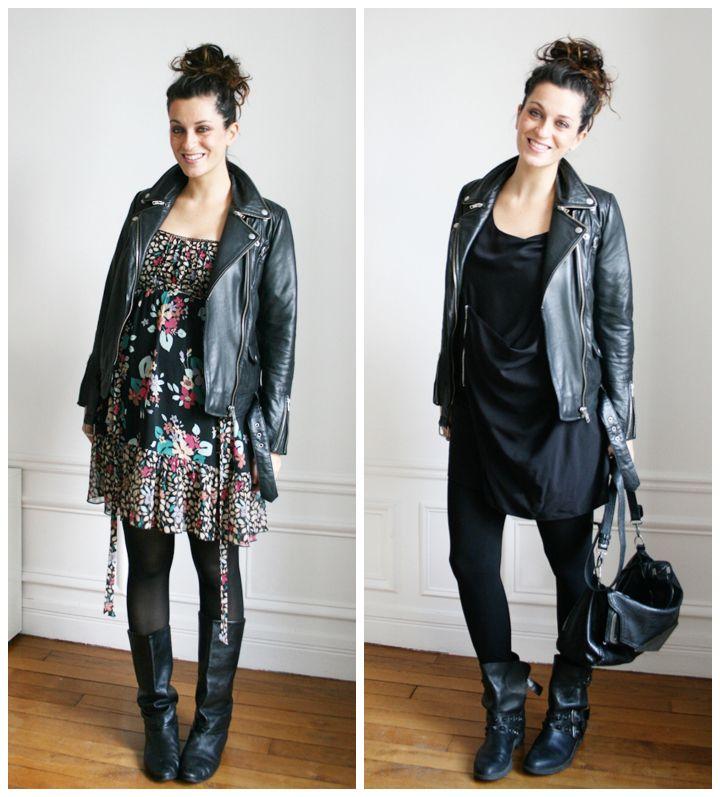 bump style Maje biker jacket / New look flower dress / Bel Air black dress / Office and Zara boots