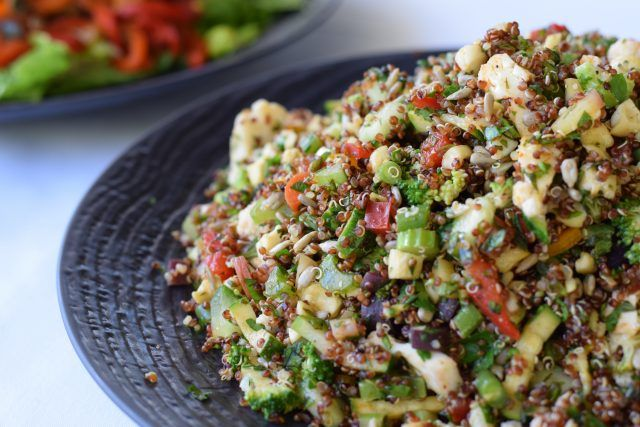 Quinoa Salad with lots of vegetables cut into small pieces