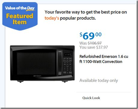 Walmart Values of the Day: Emerson Microwave for $69 or Anchorman 2 on Blu-Ray for $9.96!