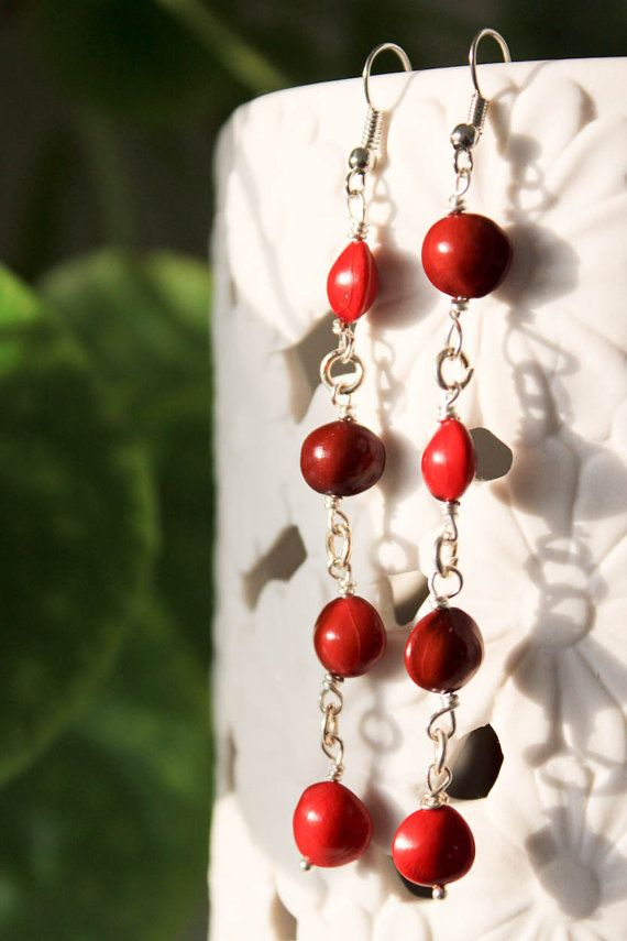 Bass notes- Natural seed long dangle earring
