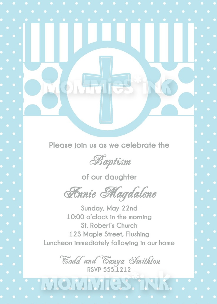 Blue First Communion or Baptism Invitation (Boy) - PRINTABLE INVITATION DESIGN. $12.50, via Etsy.
