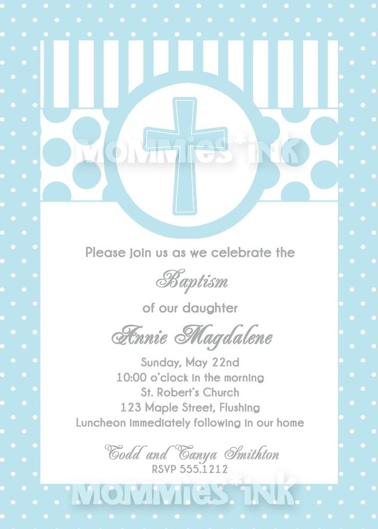 Blue First Communion Or Baptism Invitation Boy