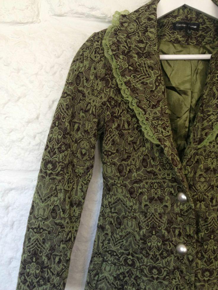 Ladies Caroline Morgan Green Designer Winter Jacket Trench Coat - 8 - RRP $169