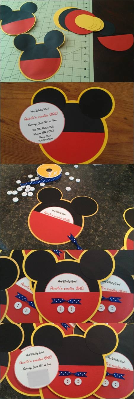 "Mickey Mouse Invitations  You'll Need:  Zip Dry Glue  Cardstock 12x12  Wht cardstock 8x10 for inserts  White buttons (Walmart)  Blue ribbon (HL)  Glue gun  Use a cricut or Fiskars Cut Perfect Circles tool. Use this youtube video. http://youtu.be/DZz24Q1dBqw I did a 1/4 to a ½"" difference between yellow & black circles. Use a thin line just inside the edge for the shorts & quickly wipe up any glue that comes out the sides. My inserts were 3 1/2"" circles I fit 5 on 1 page.   Good luck & have…"