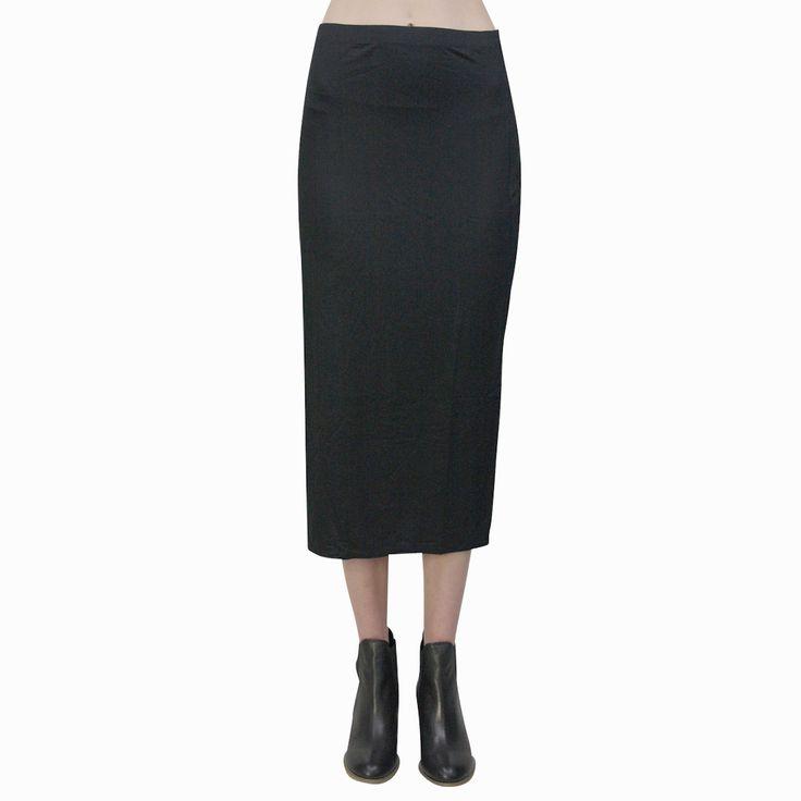 Upstream - By Megan Salmon U7102p Tube Midi Skirt Black