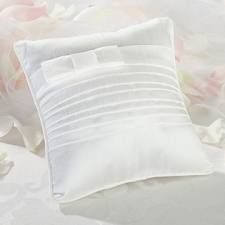 Lillian Rose Collection pleated white ring pillow. Sold at Second I Do's