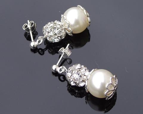 Wedding Earrings - Crystal Encrusted Wedding Pearl Earrings, Filigree Style, Monroe
