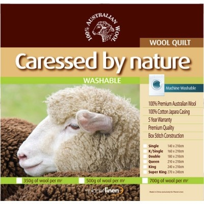 Washable Wool Quilt 500gsm by Caressed by Nature