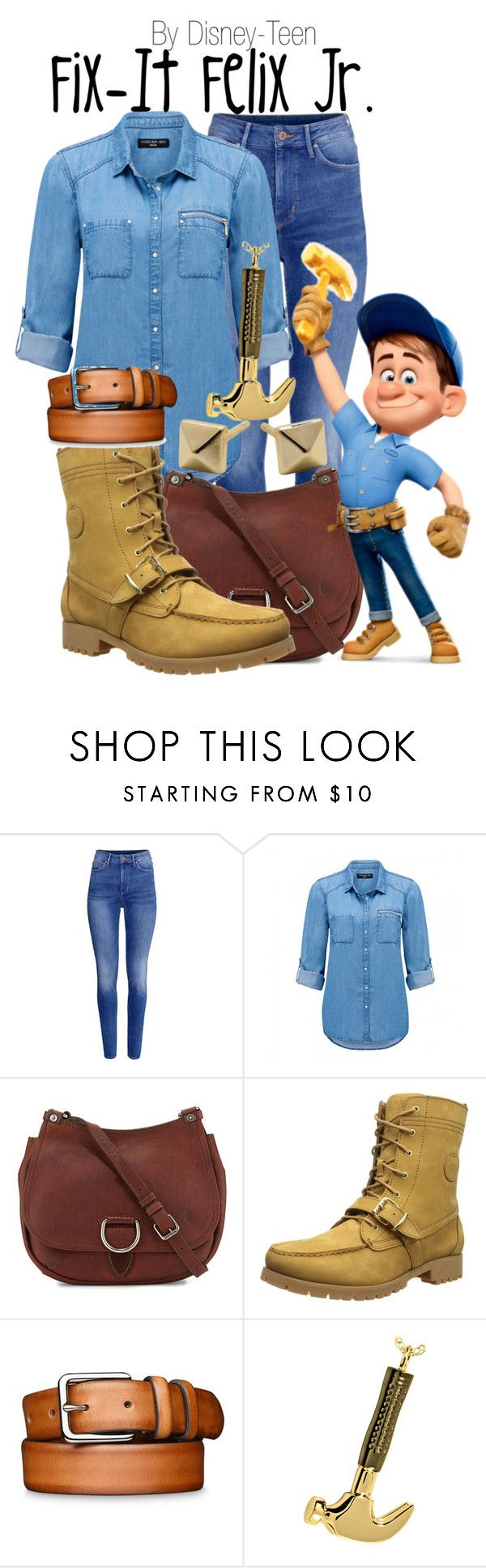 """Fix-It Felix Jr."" by disney-teen ❤ liked on Polyvore featuring H&M, Forever New, Frye, Felix, Lauren Ralph Lauren and Alexandra Beth Designs"