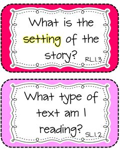 Fantastic printable cards for story comprehension... and they each relate to a Common Core Standard!
