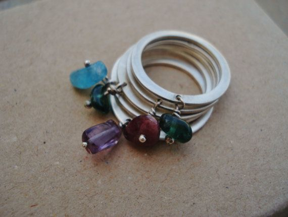 Five Stacking Rings with Semi Precious Stones, Little Rings with Agates