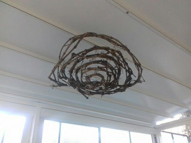 Lampada decorativa in arbusti e legni leggeri da soffitto diametro 70 cm con Luci led a batteria.  (50)