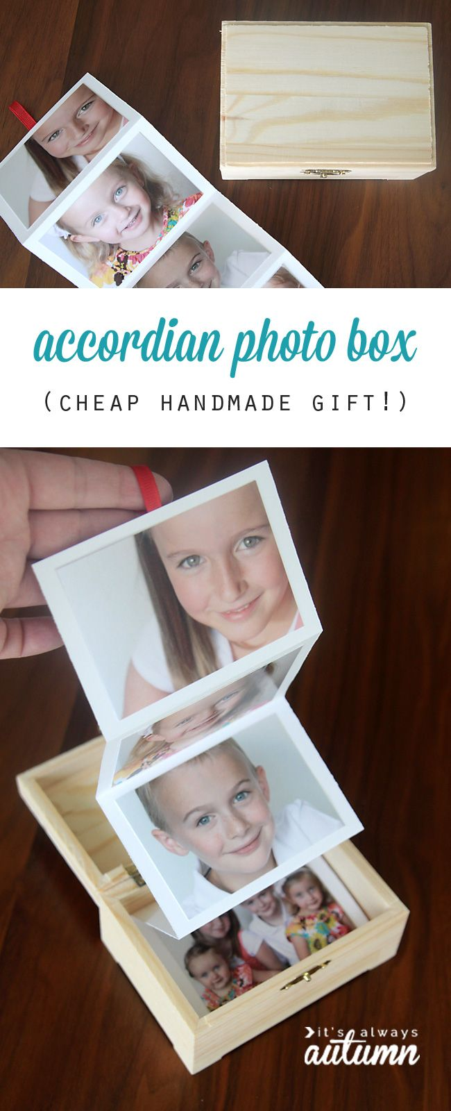 What a great gift idea! DIY photo box - easy & cheap, and perfect Christmas gift idea for mom, dad, grandparents, spouses, and more.