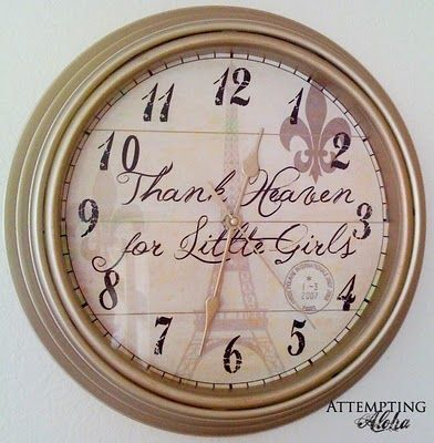 Do it yourself clock: Diy Clocks, Chic Clocks, Clocks Diyand, Chic Parisians, Clocks Diy And, Girls Rooms, Clocks Faces, Parisians Clocks, Clocks Tutorials
