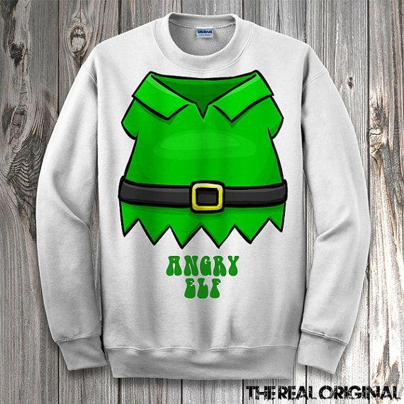Funny Angry Elf Suit Christmas Sweater - Funny Ugly Christmas Crewneck/Hoodie Sweater Merry Xmas Santa Elf Shirt RO169 $34.99