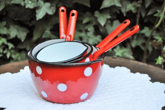 Vintage French Red dots Enamel Saucepans /Red by LaBourgognedeNath