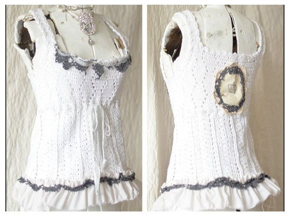 French Country Chic Crochet Cami, White crochet tank, Boho Chic Crochet Cami