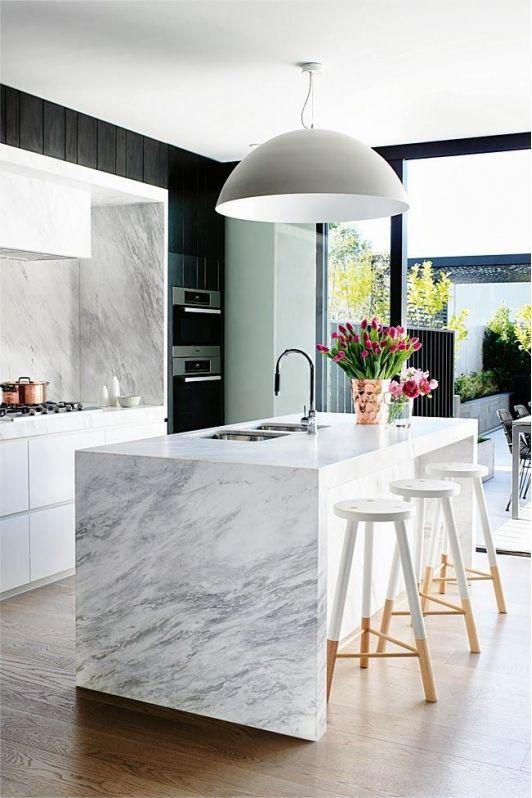 Elegant Kitchen Design with Marble Kitchen Island