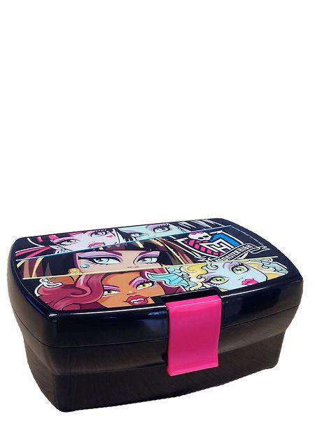 Suljettavassa Monster High -eväsrasiassa välipalat kulkevat kätevästi mukana. Rasiassa on kaksi kerrosta, ja sitä koristavat aina yhtä tyylikkäät Monster High -hahmot.