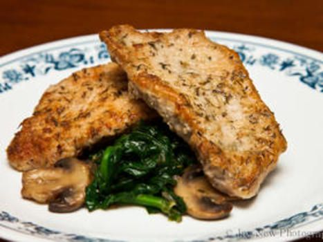 Garlicy Pork Chops with Spinach
