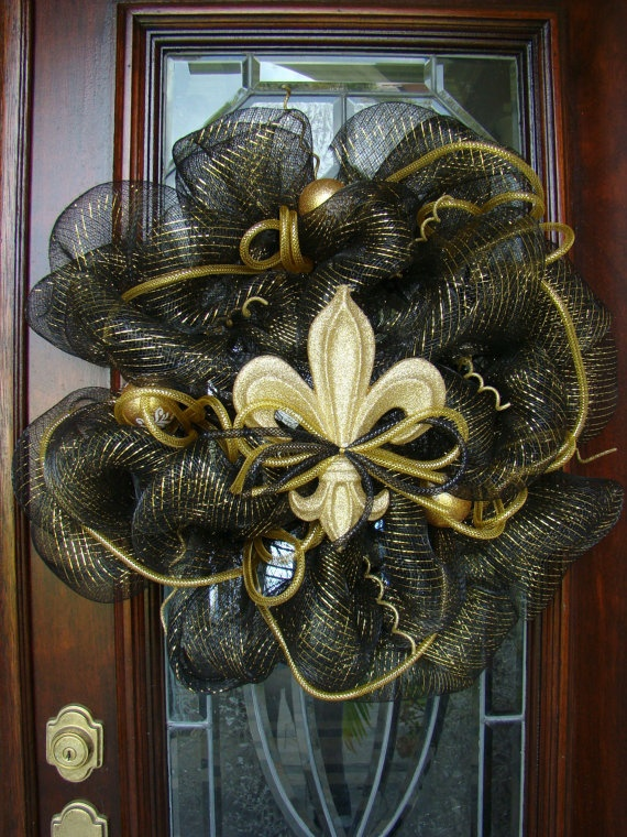 Black And Gold Fleur De Lis Deco Mesh Wreath By
