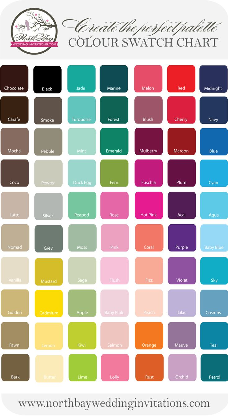 Colour Chart North Bay Wedding Invitations Copyright I Want Smoke And Jade According To This