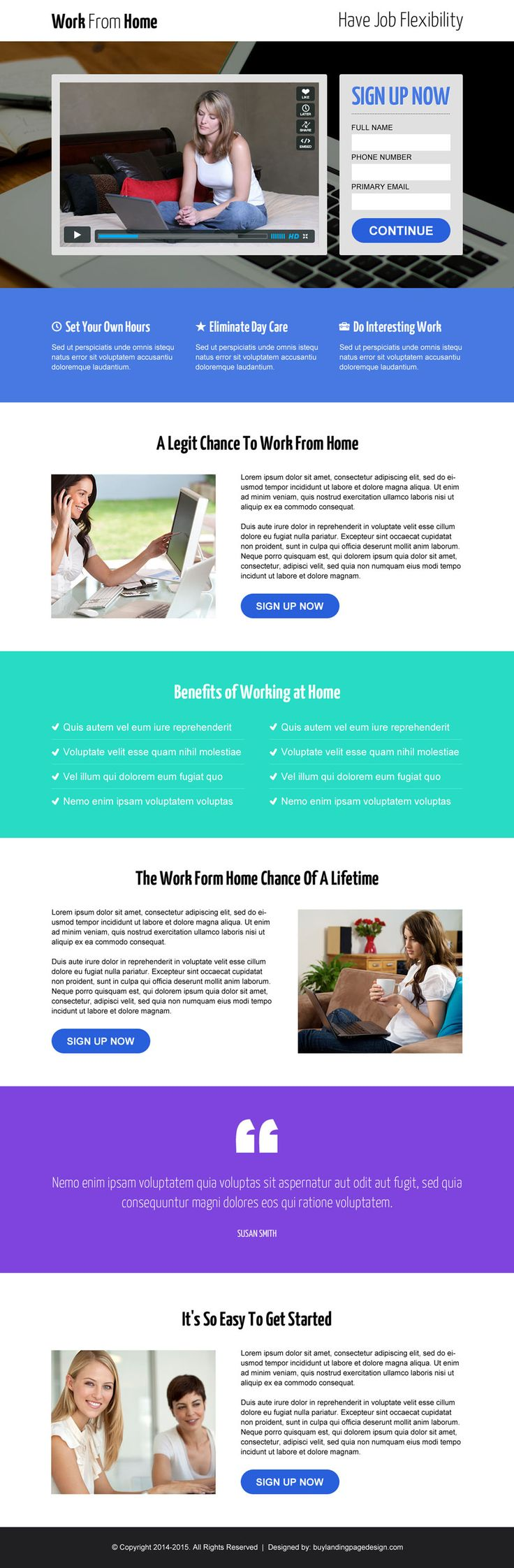 Work From Home Opportunity Lead Capture Video Landing Page Design Template Part 58